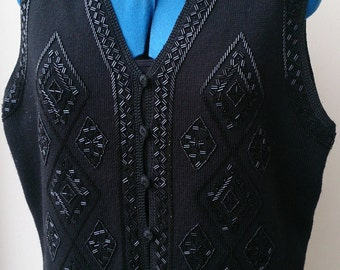 Highly decorative waistcoat/cardigan with extensive bead work pattern. 1990s.  Up to size 12.  Unbranded.