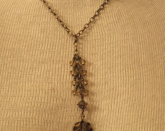Brass Toned Beaded Necklace Leaf Focal Bead Chinese Crystals