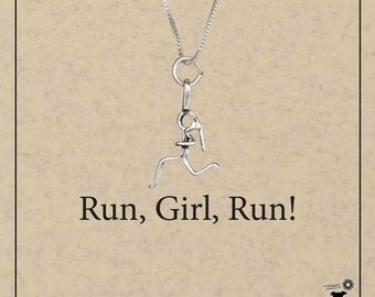 Sterling Silver Woman Runner Pendant Necklace