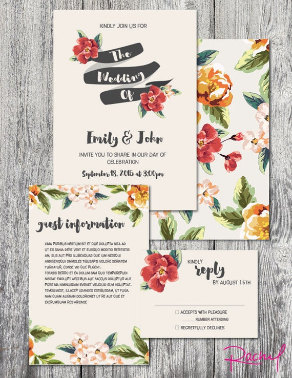 Wedding Invitation Tropical Theme Custom Red And Yellow Floral - Hawaiian wedding invitation templates