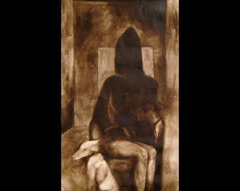 "Macabre Art Print ""The Sitting"" Dark Morbid Witkin"