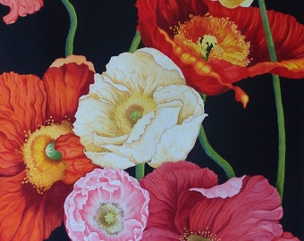 Poppies 1 / Original Watercolour painting 75 x 100cm / By Anne Goodall