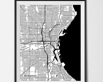 Milwaukee Map Etsy