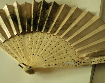Antique satin fan