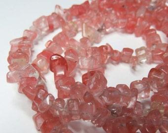 Watermelon Quartz Tumble Chip Beads. 15.5 Inch Strand.
