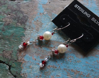 Pearl & red Swarovski drop earrings