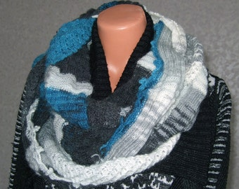 Handmade Knitted Gray White And Blue Snood Scarf