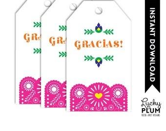 Fiesta Birthday Favor Tag / Tribal Flower Favor Tag / Mexican Fiesta Favor Tag / Papel Picado / Printable / DIY