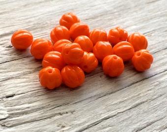 Czech glass beads - glass melon beads opaque orange 8mm  pack of 20