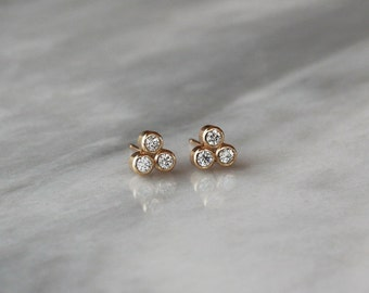Diamond Stud Earrings, Trinity Triangle Earrings, Diamond Trio Studs, 14k Yellow Gold Post, Canadian Diamonds, Modern Diamond Studs