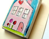 Kawaii Handpainted Pink Heart House Magnet