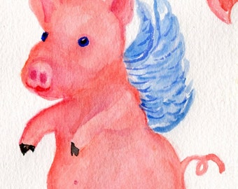 Flying Pigs watercolors paintings original, pigs with wings, when pigs fly, flying pig art, peeking pig face, pigs art