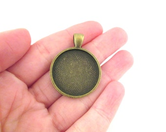 25mm brass bezel pendant settings, pick your amount, B54