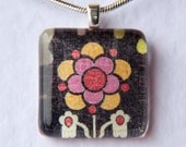 Handmade Glass Tile Black Flower Pendant