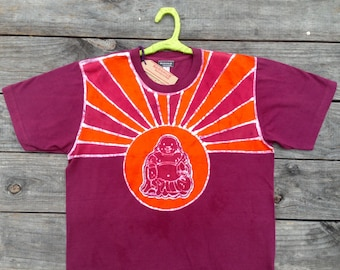 Men organic t shirt batik Eco friendly yoga laughing Happy Buddha hand dyed burgundy festival clothing yoga clothes Gift for him  XS to 3XL
