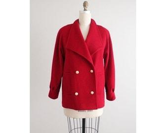 red wool coat / oversized coat / women's wool coat