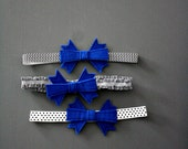 Gingham Chevron Polka Dot Black & White Blue Bow Girls Headband