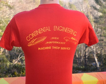 70s vintage t-shirt CONTINENTAL engineering machine shop boat sports car tee shirt Medium Large 80s