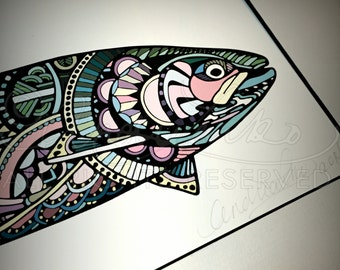 "Limited Edition Zentangle Steelhead Gicleé Print 8.5""x11"" matted to 11""x14"""