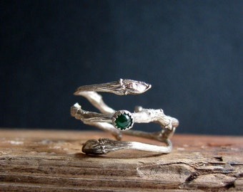 Emerald Ring Silver Twig Cabochon Witch Ring Sterling Silver Botanical Ring May Birthstone Gifts for Taurus