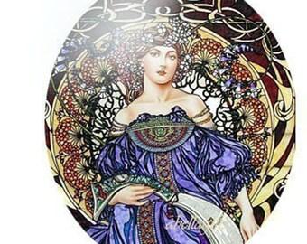 Blue Alphonse Mucha Unset Porcelain Cameo Cabochon 40x30mm Handmade
