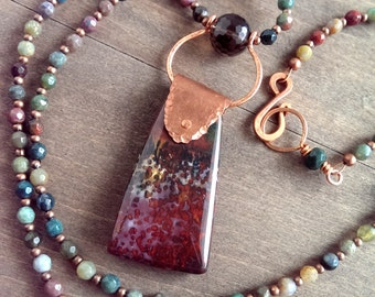 Earthy copper necklace - Indian jasper, smokey quartz and copper necklace