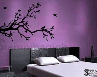 Tree Branch Wall Decal with birds - Tree Branch Vinyl Wall Art Decor Graphics - K133
