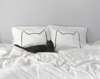 Cat Nap Pillowcase Set, couples gift set Gift for Cat Lover, Standard Cotton Pillow cases, cat ears, cat lady, gift for her