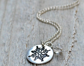 Silver Snowflake Necklace, Sterling Silver, Snowflake Pendant, Winter Jewelry, PMC Jewelry, Gift Under 40, Snowflake Charm Necklace