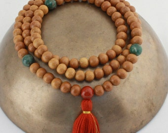 Wood Meditation Mala Beads - Wood Rosary Necklace w Red Jasper and African Jade - 111 Bead Tibetan Buddhist Prayer Beads
