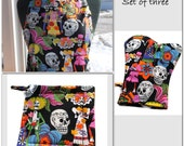 Unisex BBQ  Set of 3 Apron  Potholder and Oven Mitt Chef Apron day of the Dead Men Women  Alexander Henry