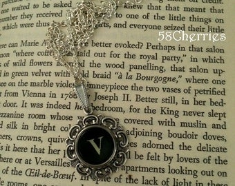 Filigree Round Typewriter Key Pendant - Initial E - Historical Charm and Romance - Antique White Key in Black Font - Steampunk Chic
