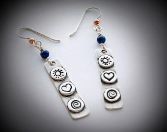 Women's geometric fine silver Boho Dangle Earrings, Sterling Ear Wire, lapis stone accent