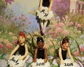 Ballerina Doll Personalized Ornament, Cake Topper, Placecard