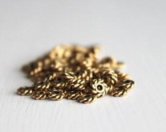 100 TierraCast 4mm Antiqued Gold Twist Heishi Britannia Pewter, Black Spacer Beads, Lead Free Metal Spacer Beads
