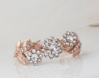 Rose Gold Bracelet Wedding Jewelry Rose Gold Cuff Leaf Bracelet Crystal  Bridal Bracelet  Vine Wedding Bracelet MIER