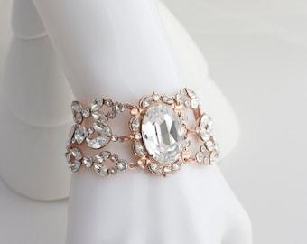 Rose Gold Crystal Bracelet Statement Bridal Bracelet Rose Gold Cuff Bracelet Wedding Bracelet Swarovski Crystal Wedding Jewelry  RYAN DEL.BL
