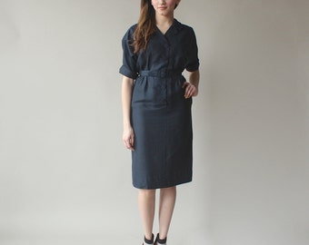 vintage 50s belted dress | little black dress | 1950s small