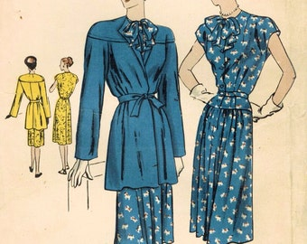 1940s Vogue 5686 Vintage Sewing Pattern Misses Afternoon Dress and Coat Size 14 Bust 32