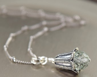 Floral necklace Bell flower necklace bali boho style sterling silver bell necklace green amethyst necklace gifts for her