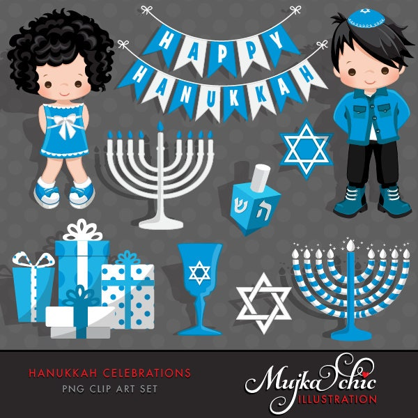 Hanukkah Clipart. Hanukkah boy and girl characters
