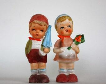 Vintage Enesco Hummell-Style Boy and Girl Salt and Pepper Shaker Set