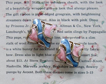 Vintage 80s Earrings Square Enamel Clip On Pink Blue Swirls Gold Tone