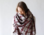 Large Blanket Scarf Fringe Plaid Flannel Scarf / Camp / Very Limited Stock