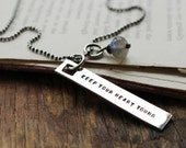 sterling silver message tag necklace, Keep your heart young ~ gift for her ~ Ready to Ship