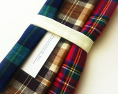 3 Large and XL Mens Plaid Handkerchief Set - Reusable Tissues - Soft Plaid Hankies - Paperless - Gift for Dad - Choose your Size