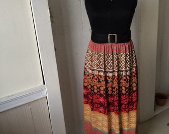 1960s Mod Maxi Dress Tribal Patterned Keyhole Cut-out Size 12