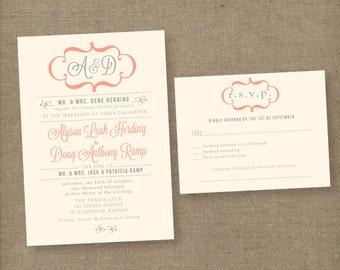 Modern wedding invitation, vintage wedding invites, printable wedding invitations, wedding invitation template, coral wedding invitation