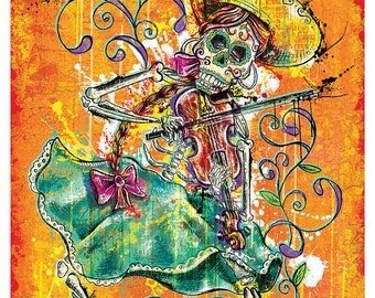 Day of the Dead Día de Los Muertos Calavera Fiddle Player  Art Print Poster 18 x 24