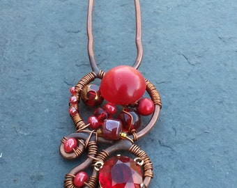 Lush Red Vintage Button Hammered Copper Hair Pin